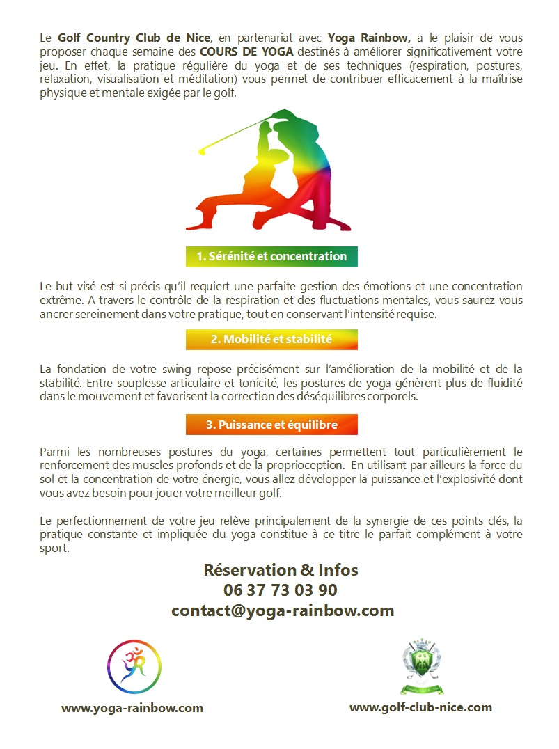 AFFICHE YOGA RAINBOW GOLF VALIDEE